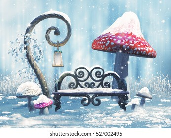 Fantasy winter scenery with a bench, a magic lantern, and red mushrooms. 3D illustration.