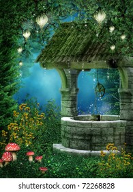 Fantasy wishing well with fairy lanterns