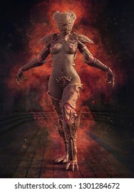 Fantasy woman in a monster outfit standing in flames in an old temple. 3D illustration.