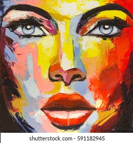 """A fantasy woman portrait from """"colorful emotions"""" series. Oil painting on canvas."""