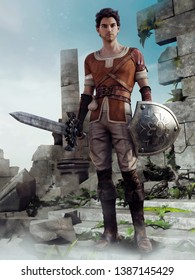 Fantasy young knight standing with a sword and shield in front of castle ruins. 3D illustration.