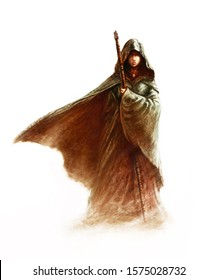 Fantasy young witch - beautiful woman with cloak and hood holding a magic staff, on white background (painting, fictional character)