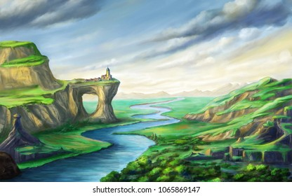 Fantsy landscape with a river and a small village on top of a rock arch. Digital illustration.