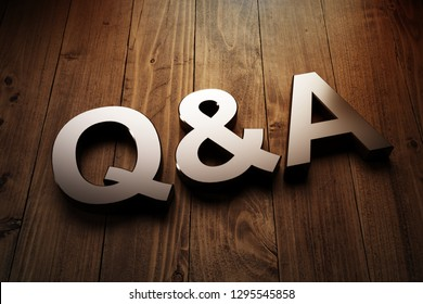 FAQ concept with Q and A sign highlighted on wood with side vignettes in a conceptual image. 3d Rendering