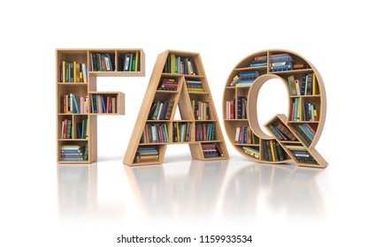FAQ Frequently asked questions concept. Bookshelf with book in form of letters FAQ isolated on white. 3d illustration