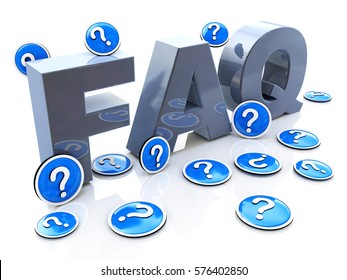 FAQ frequently asked questions in the design of information related to solving problems. 3d illustration