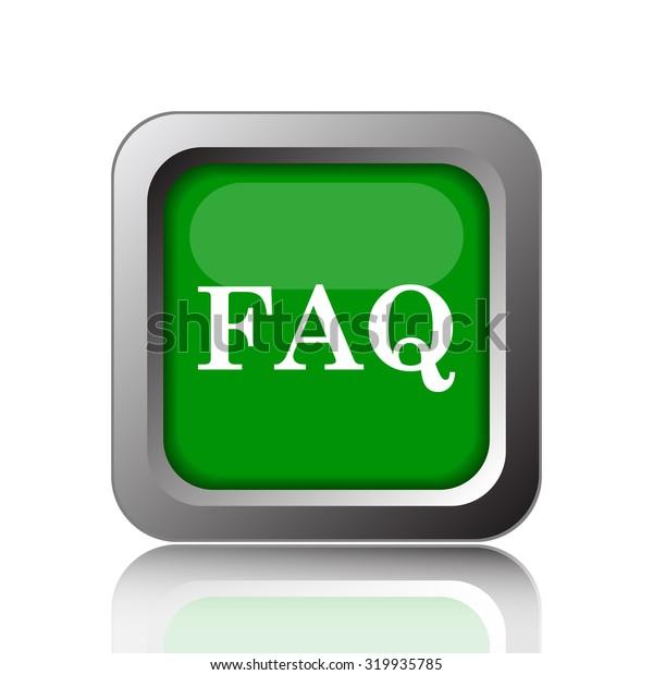 FAQ icon. Internet button on white background.