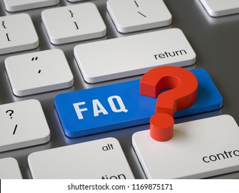 FAQ key on the keyboard, 3d rendering,conceptual image