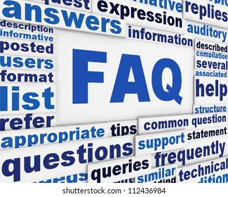 FAQ poster conceptual design. Questions and answers message background