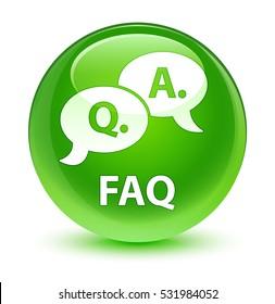 Faq (question answer bubble icon) glassy green round button