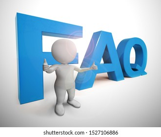 Faq symbol icon means answering questions to help support users or staff. A help desk or hotline for answering queries - 3d illustration