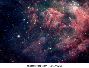 Far being shone nebula and star field against space