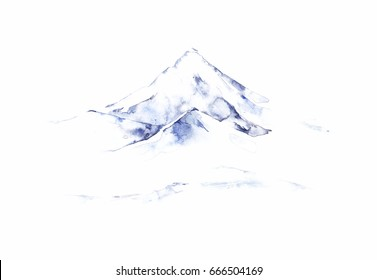 Far blue mountains hand drawn. Traditional oriental ink painting sumi-e, u-sin, go-hua.