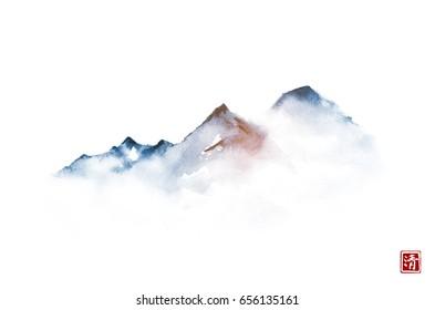 Far blue mountains in mist. Traditional oriental ink painting sumi-e, u-sin, go-hua.  Hieroglyph - clarity.