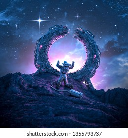 Far from home / 3D illustration of science fiction scene with lonely astronaut stranded on alien planet by broken teleportation portal