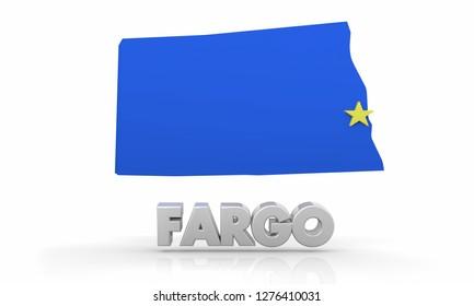 Fargo ND North Dakota City State Map 3d Illustration