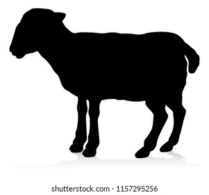 A farm animal silhouette of a sheep or lamb