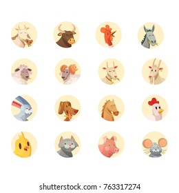Farm animals cartoon heads round icons collection with horse pig cow bull and rooster isolated  illustration
