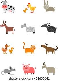 Farm animals collection - raster