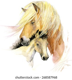 Farm animals. Horse and foal. watercolor illustration