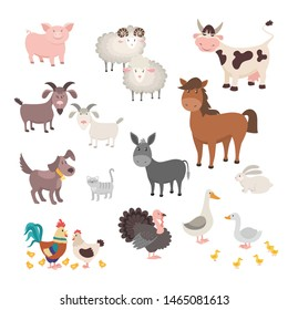 Farm Animals set. Isolated homes animal pig chicken horse dog turkey rabbit cat. Flat cute silhouette animal barnyard.  illustration