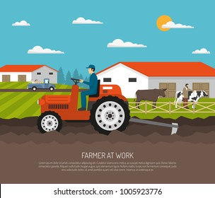 Farm background with flat farmsteading landscape and farmer character on agrimotor and livestock animals with text  illustration