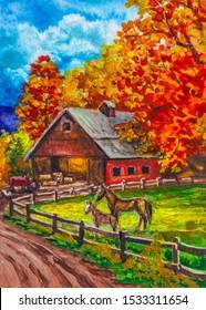 Farm barn. Autumn season. Country landscape with horse.