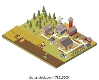 Farm buildings agricultucal vehicles and cultivated fields garden beds and trees tracks and fence isometric  illustration