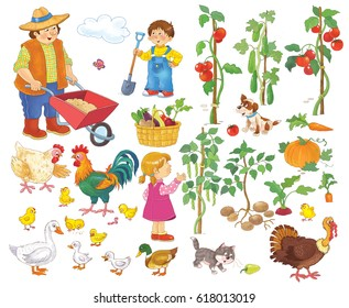 At the farm. Collection of farm animals and garden elements. Cute and funny cartoon characters isolated on white background