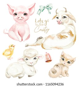 Farm, country cute animals watercolor set. Pig, cow,, sheep, kitten (cat) and little chicken
