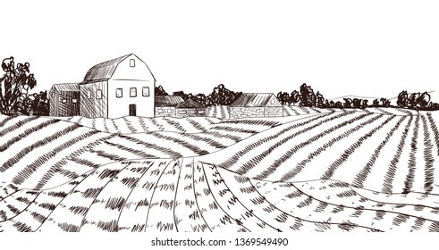 Farm Field Sketch, Engraving Style, Black and White Background Template.