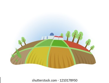 Farm field with trees and houses, fisheye view. Farming, ecotourism, kibbutz. Colorful flat illustration. Isolated on white background. Raster version.