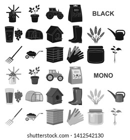 Farm and gardening black icons in set collection for design. Farm and equipment bitmap symbol stock web illustration.