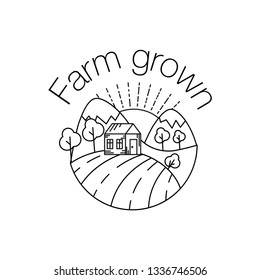 Farm grown outline icon for organic food and restaurants. Farm grown symbol with wheat field, tree, farmhouse, mountains and sun. Line art illustration isolated on white background