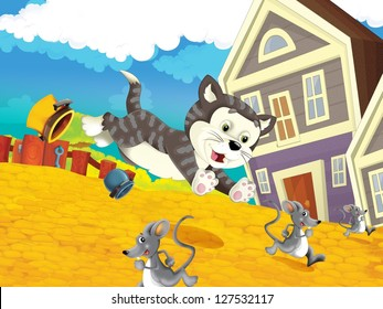 The farm - happy illustration for children - chase scene - cat chasing mice - many different elements