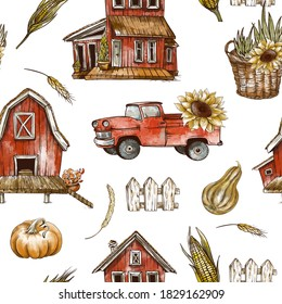 Farm house seamless pattern, Rustic vintage texture on white background.
