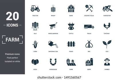 Farm icon set. Contain filled flat tractor, barn, harvester, wheelbarrow, truck, corn, fence icons. Editable format.