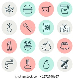 Farm icons set with onion, pushcart, overalls and other shovel elements. Isolated  illustration farm icons.