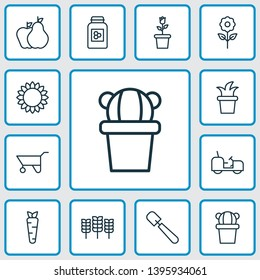 Farm icons set with pushcart, cereal, gardener tool and other wheat elements. Isolated  illustration farm icons.
