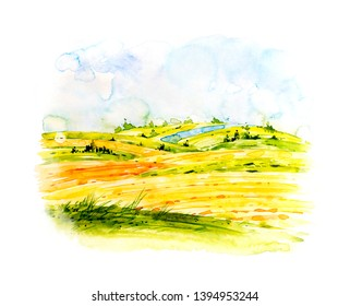 Farm landscape. Watercolor botanical illustration. Rural landscape with a wheat field. Watercolor Lovely rural nature. Farm panorama