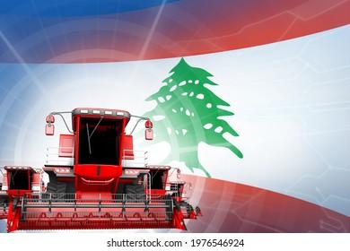 Farm machinery modernisation concept, red modern wheat combine harvesters on Lebanon flag - digital industrial 3D illustration
