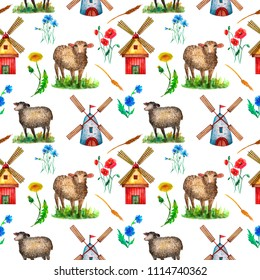 Farm rustic seamless pattern watercolor drawing. Farm, rustic, sheeps, mill, wildflowers. For design, fabric, wallpaper, banner, card.