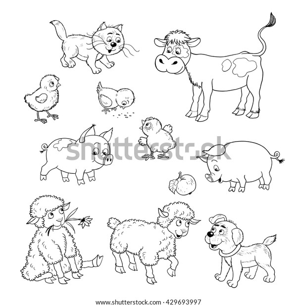 Farm Set Cute Baby Animals Calf Stock Illustration 429693997