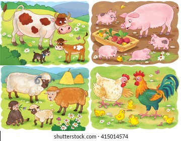 At the farm. Small set of cute farm animals with their babies. Cow, pig, sheep, hen and rooster. Illustration for children. Coloring book. Coloring page. Funny cartoon characters.