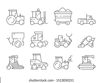 Farm transport. Agricultural heavy machines bulldozer harvester tractor linear symbols isolated