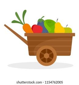 Farm wheelbarrow fruits, vegetables icon. Flat illustration of farm wheelbarrow fruits, vegetables icon for web design