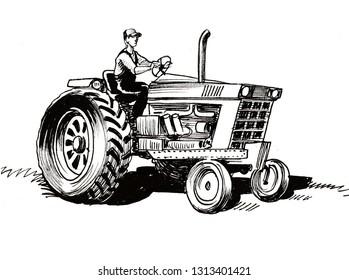Farmer Driving Vintage Tractor Retro Tractors Vector Design