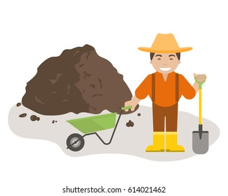 The farmer or gardener holding a shovel and wheelbarrow with pile of soil. Organic fertilizers icon.