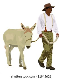 A farmer in old fashioned clothes leads a mule