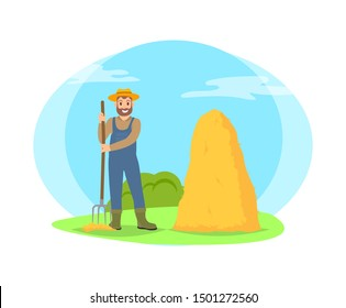 Farmer raking hay in sheaf cartoon icon isolated on landscape. Smiling happy bearded man in hat, uniform and boots standing with pitchfork raster